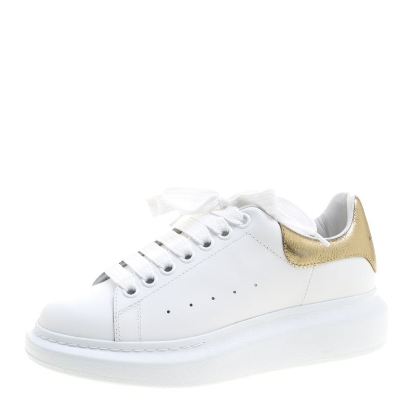 Alexander McQueen White Leather with Metallic Gold Leather Trim Platform  Sneakers Size 38