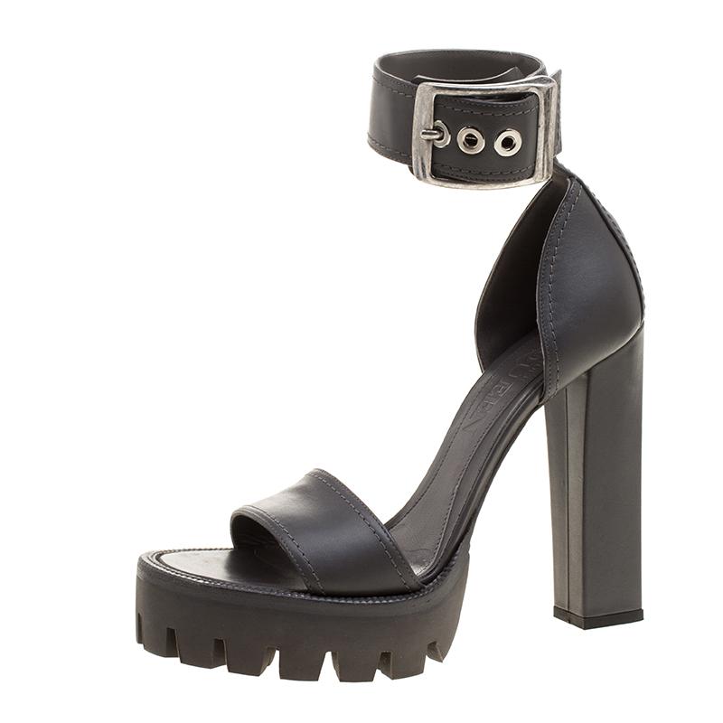 fb441ec9867 ... Alexander McQueen Grey Leather Ankle Strap Platform Sandals Size 39.  nextprev. prevnext