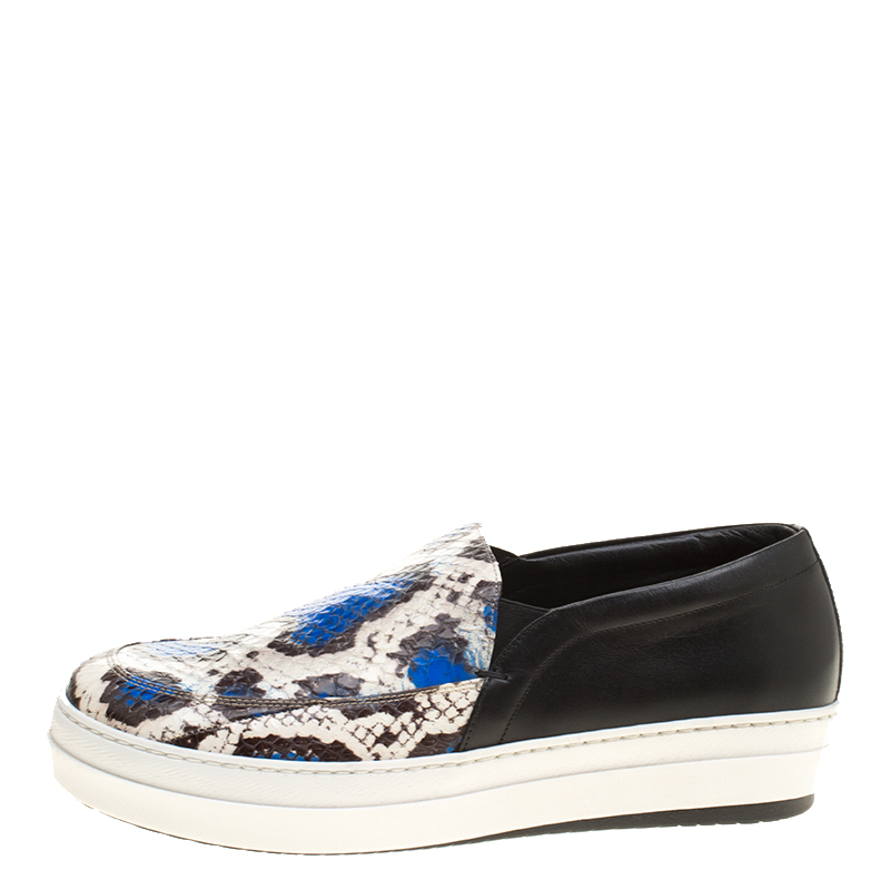 Alexander McQueen Two Tone Elaphe Snakeskin and Leather Platform Slip On Sneakers Size, Black