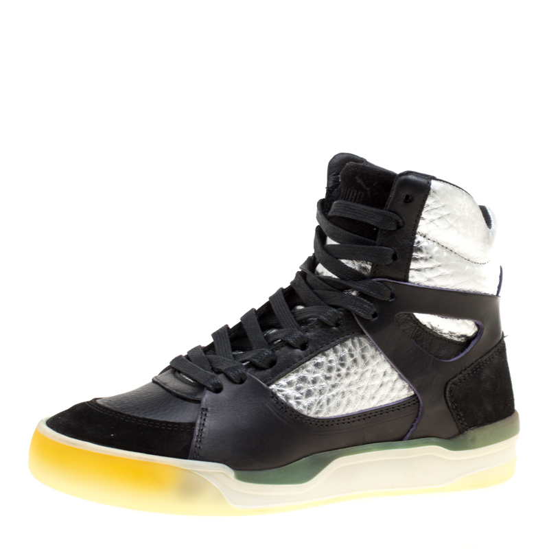 site réputé 1cfd0 bc25a Alexander McQueen for Puma Black Leather Move Femme Mid High Top Sneakers  Size 36
