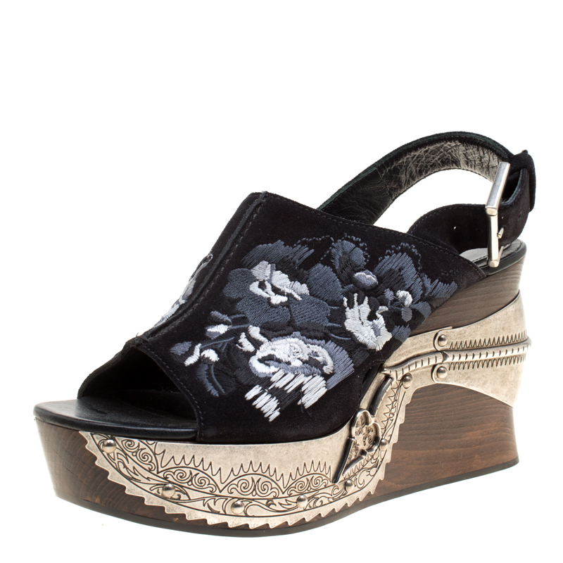 913576e9d0e ... Alexander McQueen Black Floral Embroidered Suede Metal Detail Wood Platform  Sandals Size 37. nextprev. prevnext