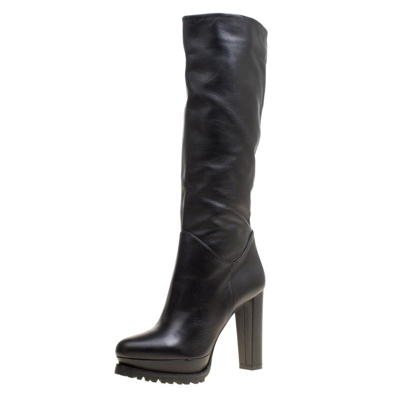 bff747bb0d36 ... Alexander McQueen Black Leather Platform Knee Boots Size 39. nextprev.  prevnext