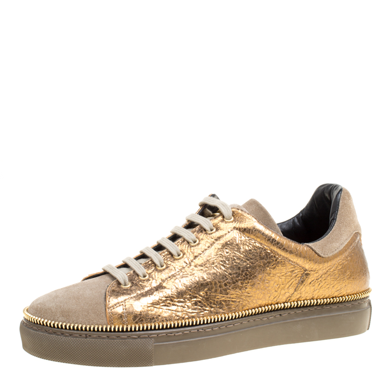 0de36f58a24d5 Buy Alexander McQueen Dull Gold Crackled Gold Leather And Suede Zip ...