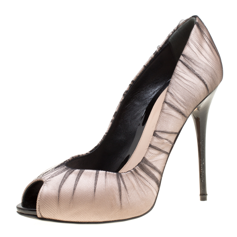 Alexander Mcqueen Blush Pink Satin With Black Ruched Mesh Peep Toe