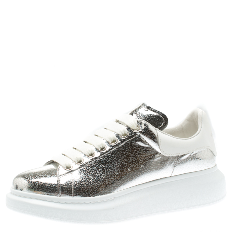 Sneakers Metallic Leather Classic Platform Larry 5 Silverwhite Mcqueen Size Lace Alexander Up 40 UzVSMp