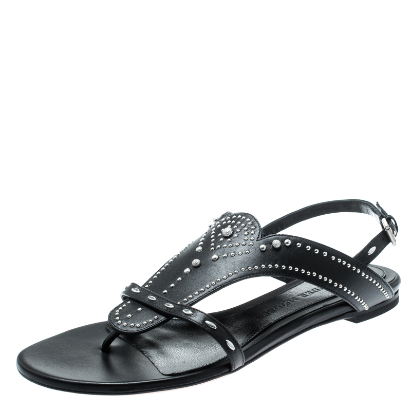 Alexander McQueen Black Studded Leather Flat Sandals Size 38.5