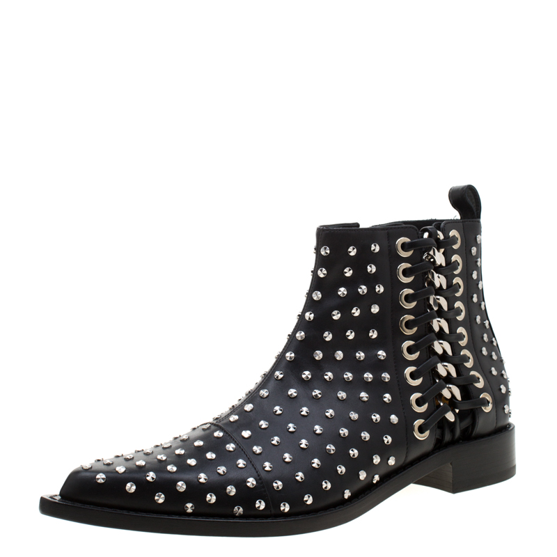 Alexander McQueen Black Leather Studded Pointed Toe Ankle Boots Size 41