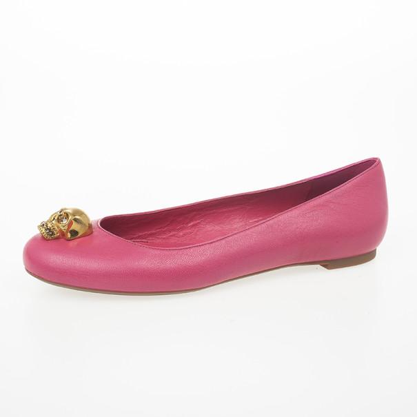 Alexander McQueen Pink Skull City Ballet Flats Size 38.5