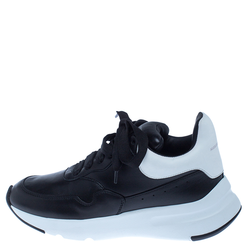 Alexander McQueen Black Leather Lace Up Sneakers Size