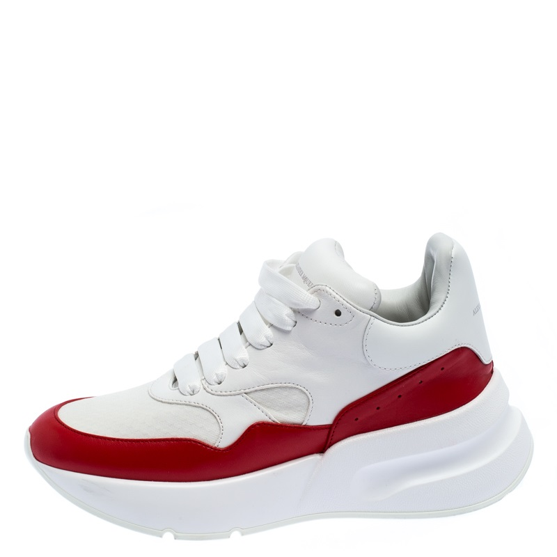 Alexander McQueen White/Red Leather And Canvas Larry Low Top Sneakers Size