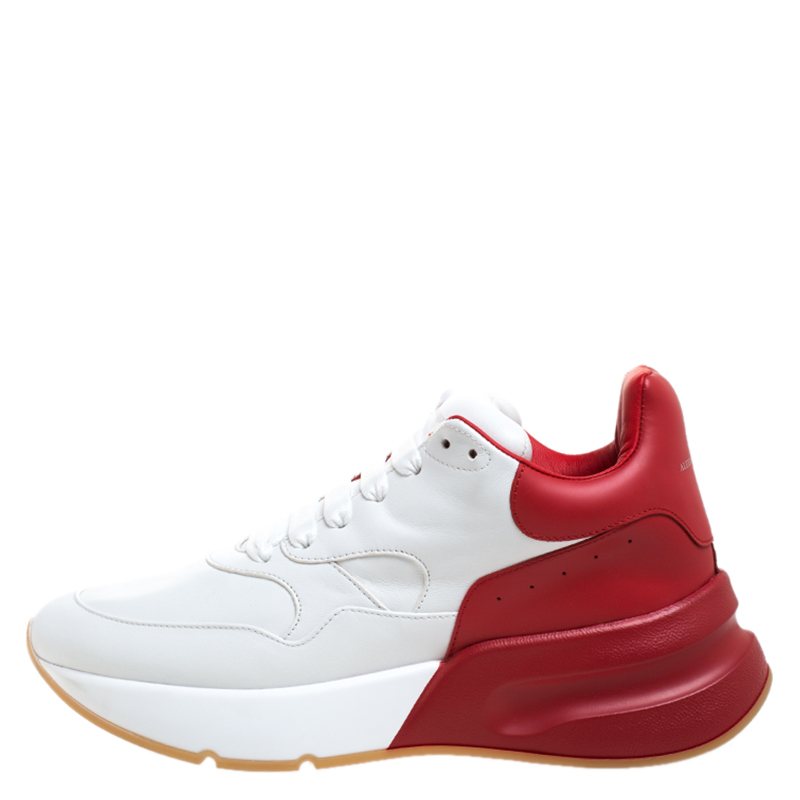 Alexander McQueen White/Red Leather Larry Low Top Sneakers Size