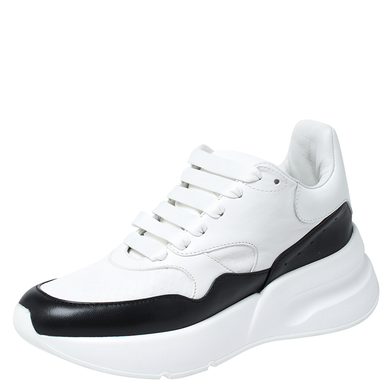 Alexander McQueen White/Black Leather And Canvas Larry Low Top Sneakers Size 37