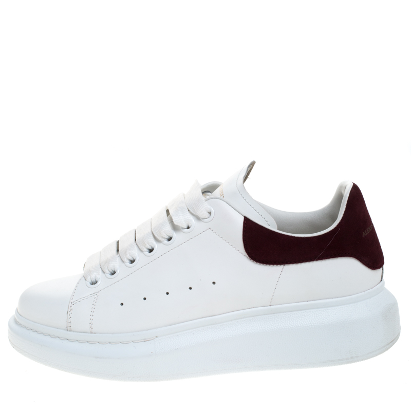 Alexander McQueen White Leather And Burgundy Suede Lace Up Platform Sneakers Size