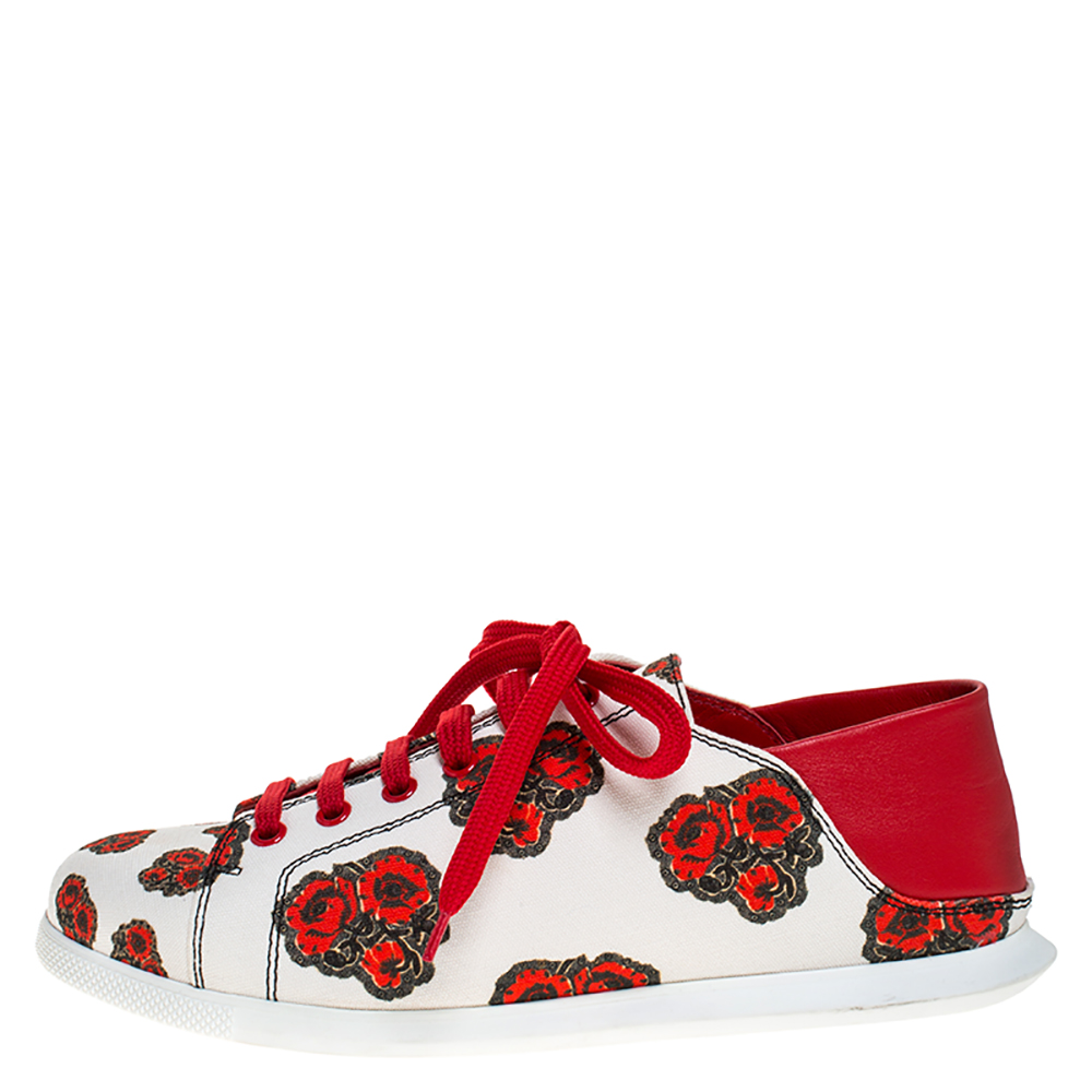 Alexander McQueen White/Red Leather And Floral Canvas Low Top Sneakers Size