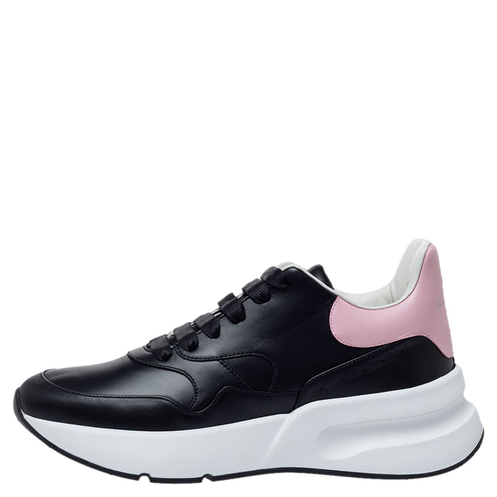 Alexander McQueen Black/Pink Leather Larry Low Top Sneakers Size
