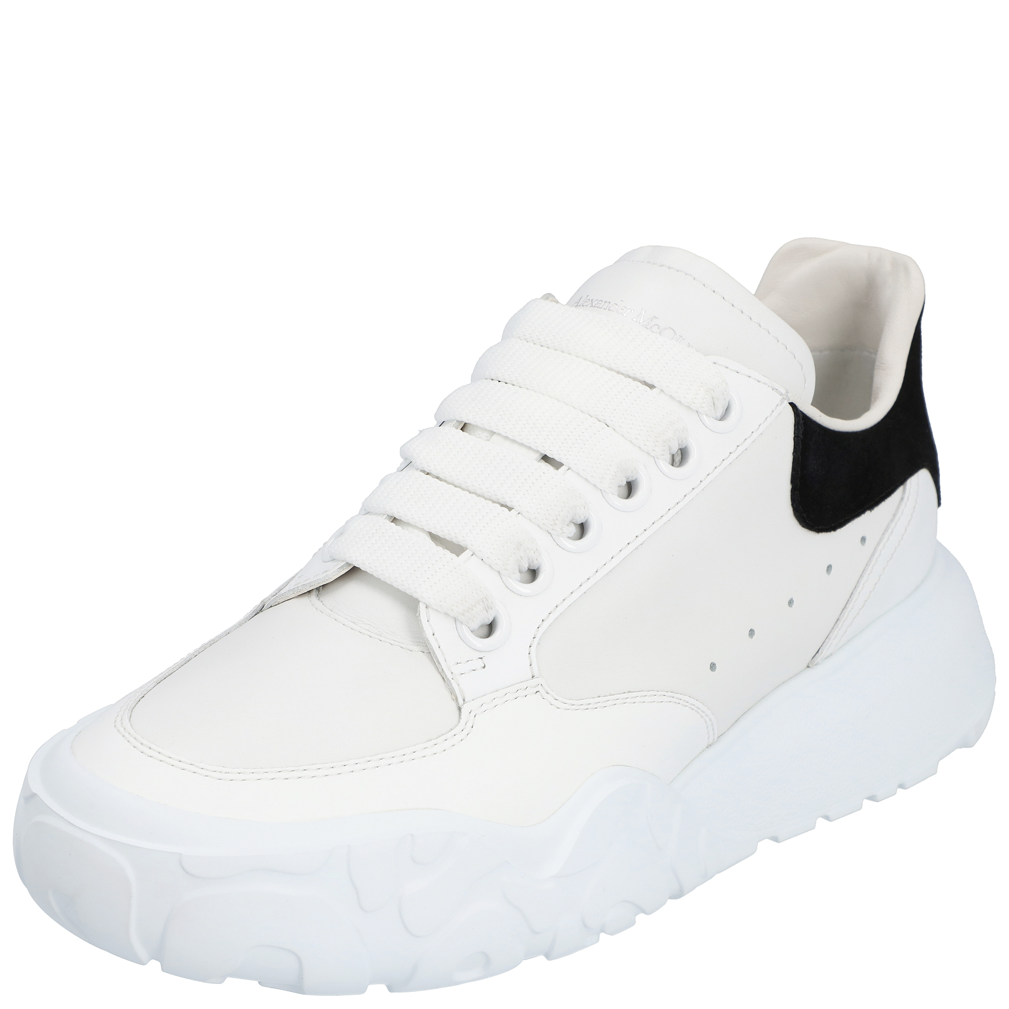 Pre-owned Alexander Mcqueen White/black Leather Court Trainer Sneakers Eu 38 (us 7.5/uk 5)