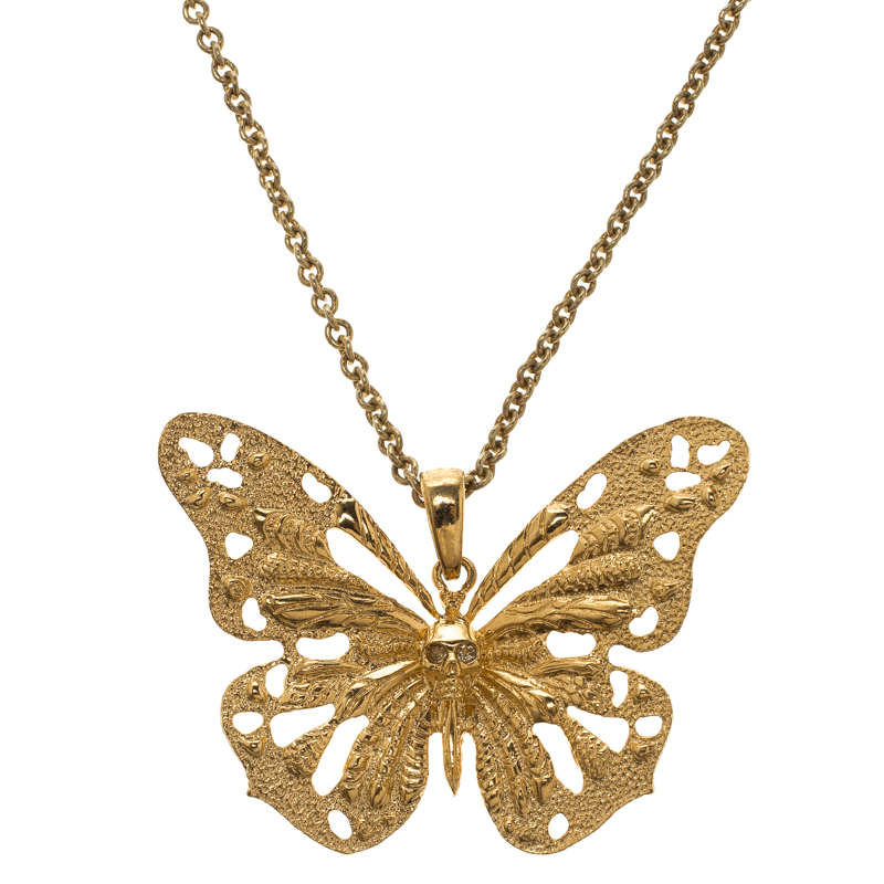 8d587407b ... Alexander McQueen Butterfly Gold Tone Pendant Necklace. nextprev.  prevnext