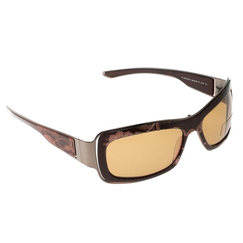 5ff745eabf Alexander McQueen Brown AMQ 4018 S Lace Print Square Sunglasses