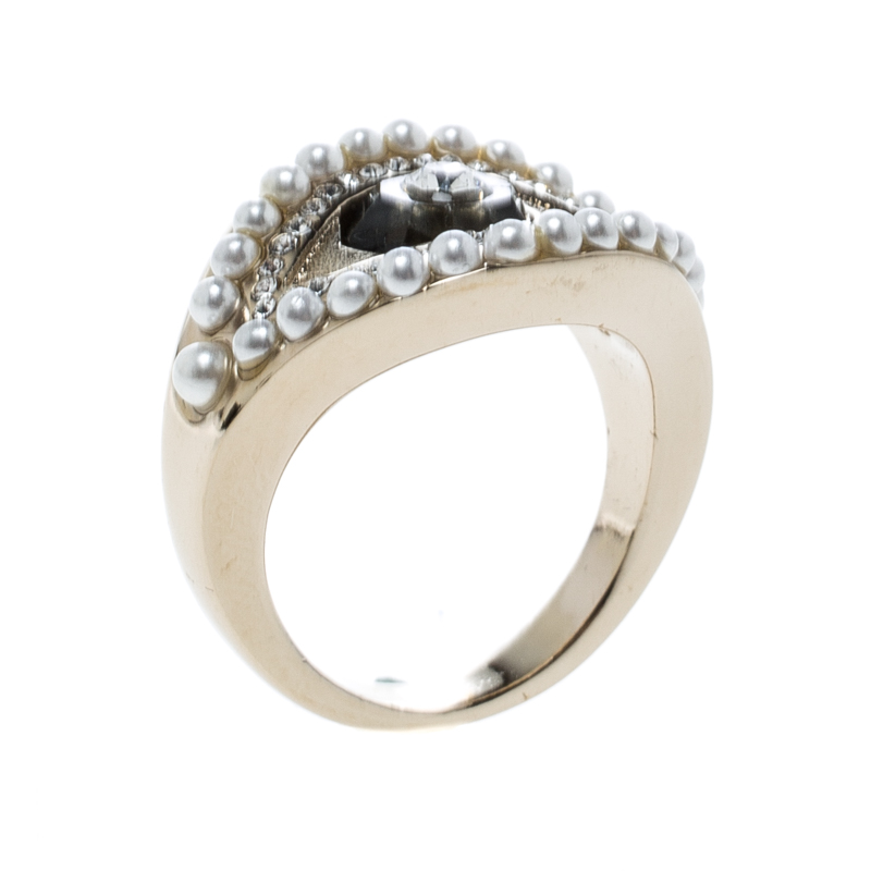 Alexander McQueen Jewelled Eye Gold Tone Ring Size 54.5