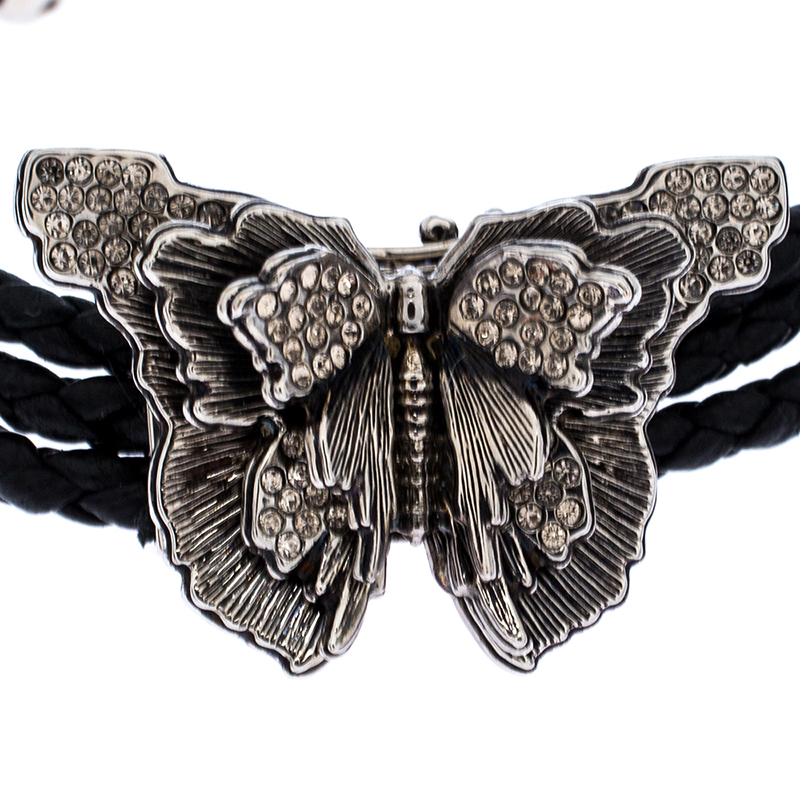 Alexander McQueen Black Braided Leather Crystal Butterfly Charm Layered Bracelet  - buy with discount