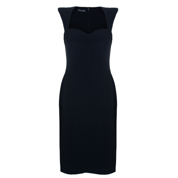 Alexander McQueen Black Fitted Midi Dress M
