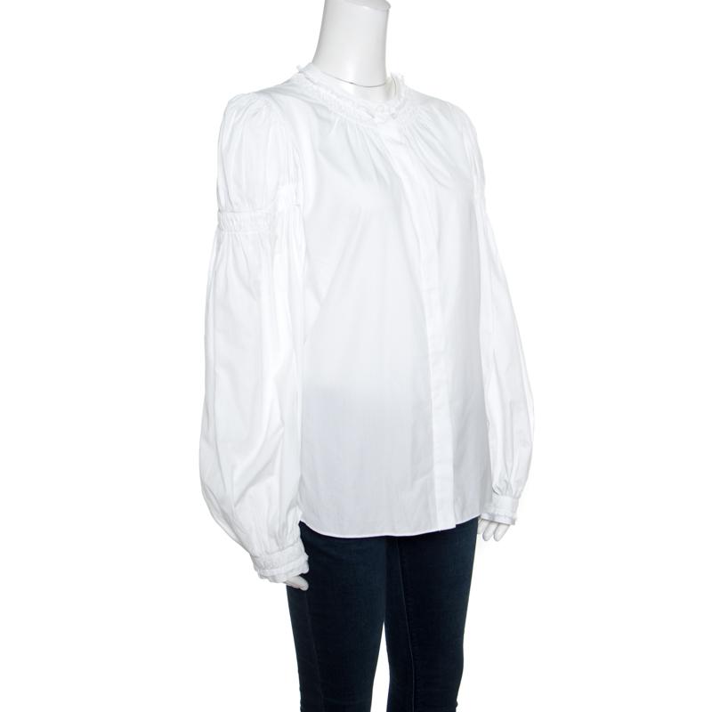Alexander McQueen White Ruffled Gathered Trim Detail Long Sleeve Blouse M