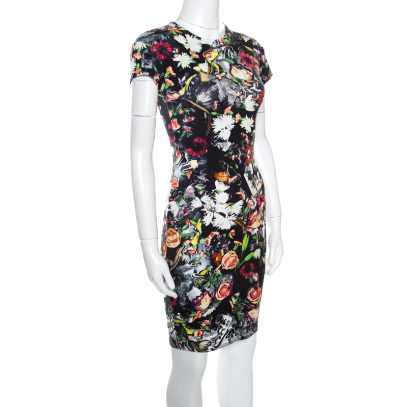 McQ by Alexander McQueen Black Floral Printed Knit Bodycon Dress