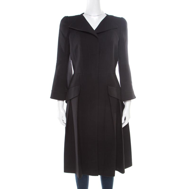 4830dca560495 ... Alexander McQueen Black Pleated Coat Dress M. nextprev. prevnext