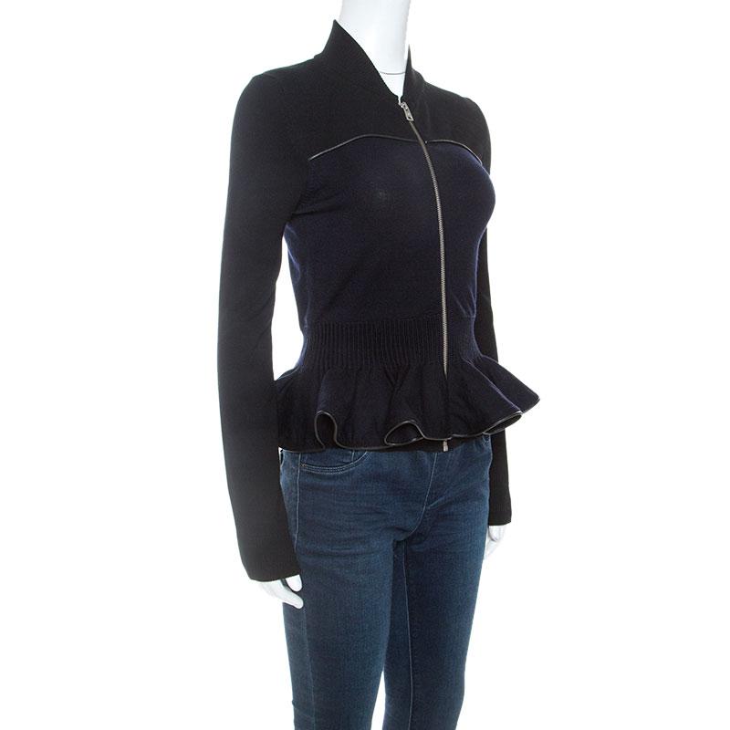McQ by Alexander McQueen Bicolor Peplum Zip Front Sweater, Black
