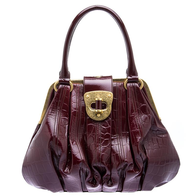 Купить со скидкой Alexander Mcqueen Bordeaux Croc Embossed Patent Leather Elvie Satchel