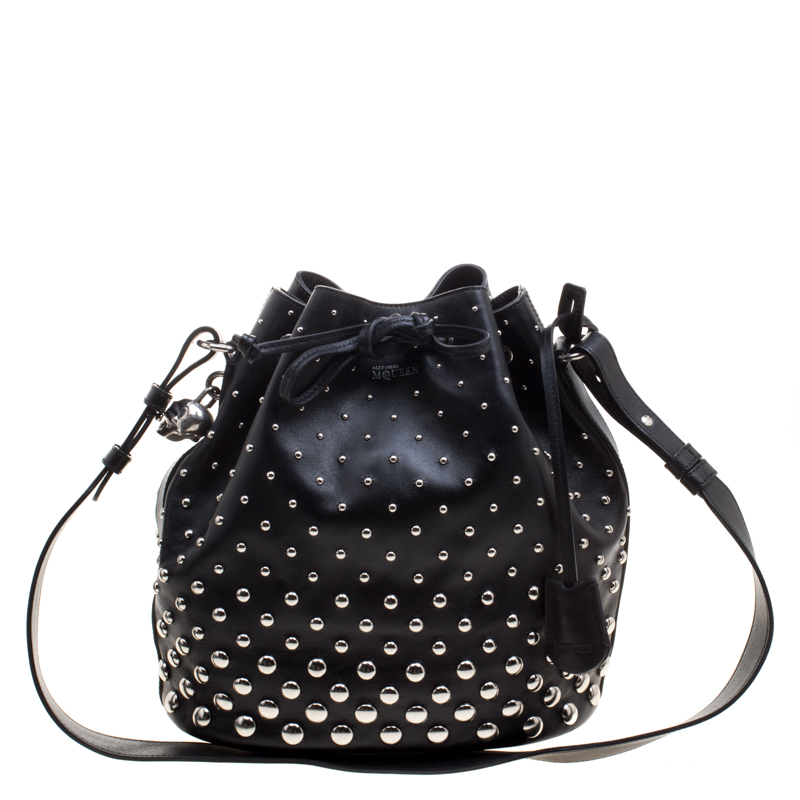 ... Alexander McQueen Black Leather Studded Padlock Drawstring Bucket  Shoulder Bag. nextprev. prevnext 7de9ea2acea8f