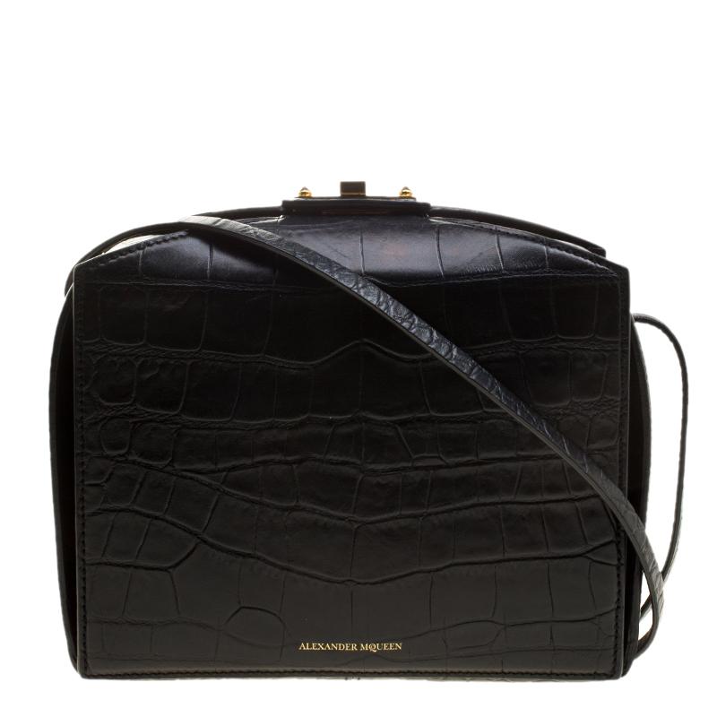 Alexander McQueen Black Croc Embossed Leather Box Shoulder Bag