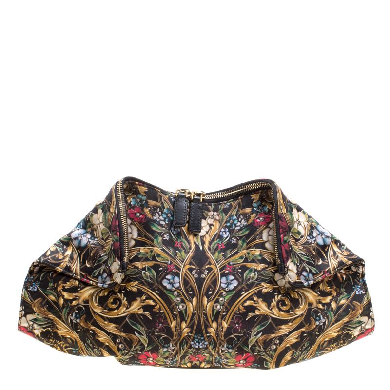 Купить со скидкой Alexander McQueen Multicolor Printed Fabric Medium De Manta Clutch