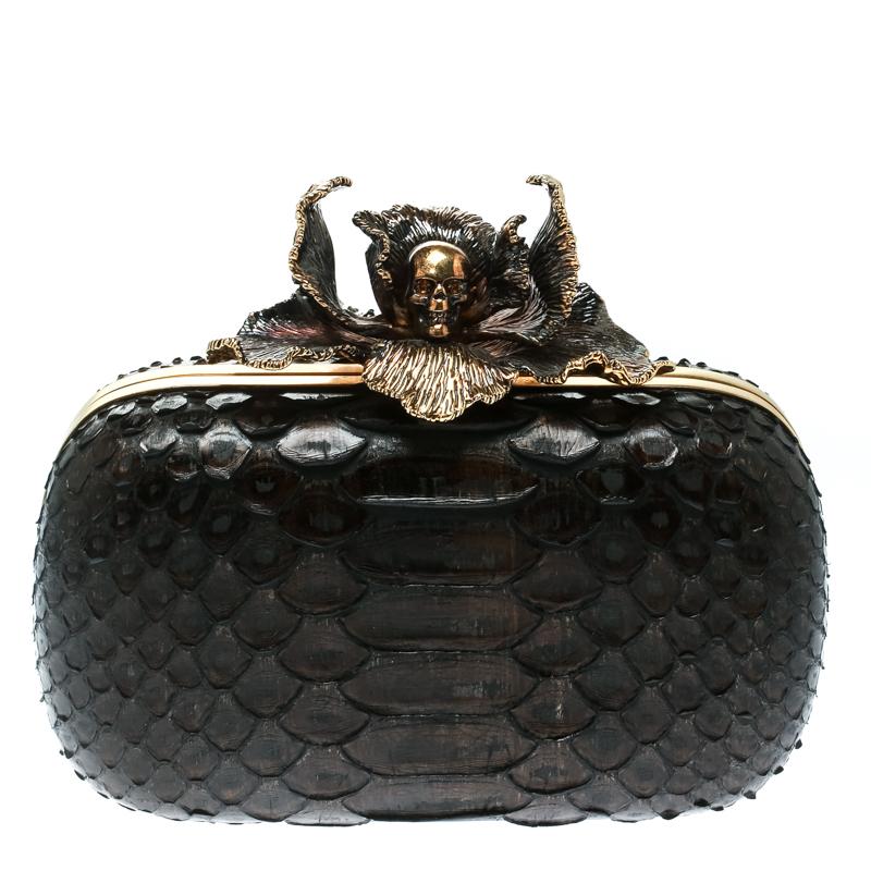 Alexander McQueen Dark Brown Python Flower Skull Box Clutch