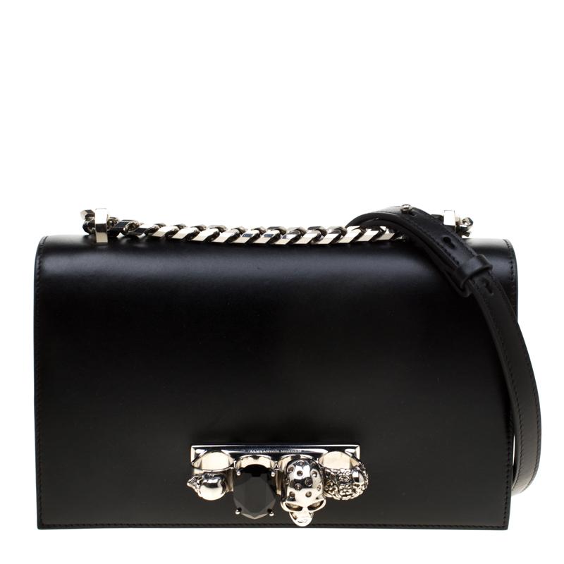 Black Leather Jeweled Shoulder Bag