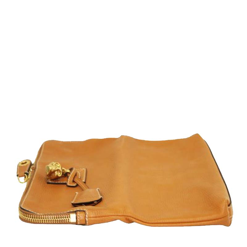 Alexander McQueen Brown Leather Skull Foldable Clutch  - buy with discount