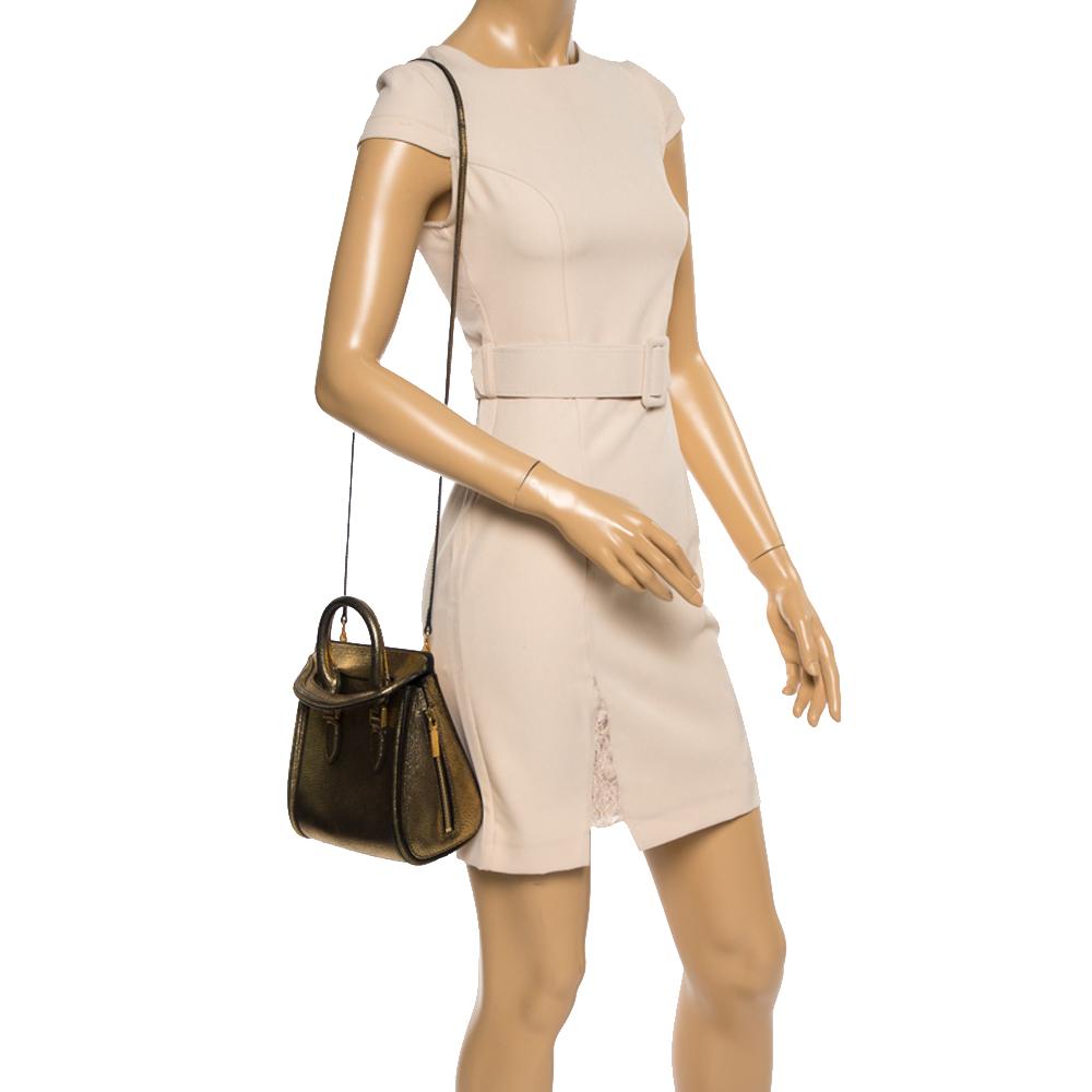 Alexander McQueen Metallic Gold Leather Mini Heroine Bag  - buy with discount
