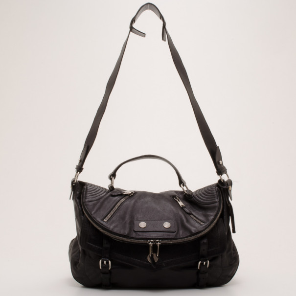 Alexander Mcqueen Black Leather Faithful Crossbody Bag