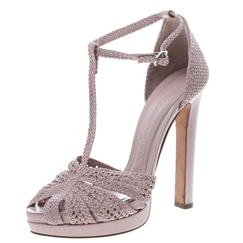 Alexander McQueen Pink Woven Leather T-Bar Ankle Strap Platform Sandals Size 36