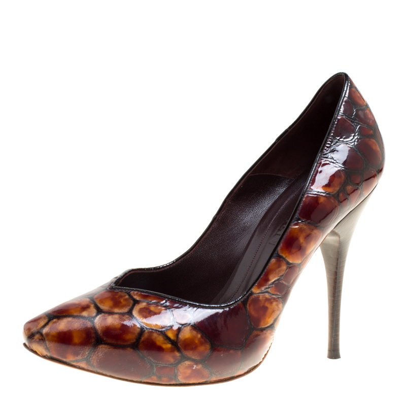 dc52d08b474d ... Alexander McQueen Two Tone Brown Tortoise Shell Embossed Patent Leather  Pumps Size 40. nextprev. prevnext