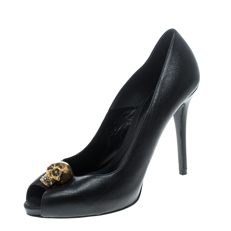 275d5e40899d ... Alexander McQueen Black Leather Crystal Embellished Skull Detail Peep  Toe Platform Pumps Size 38.5. nextprev. prevnext