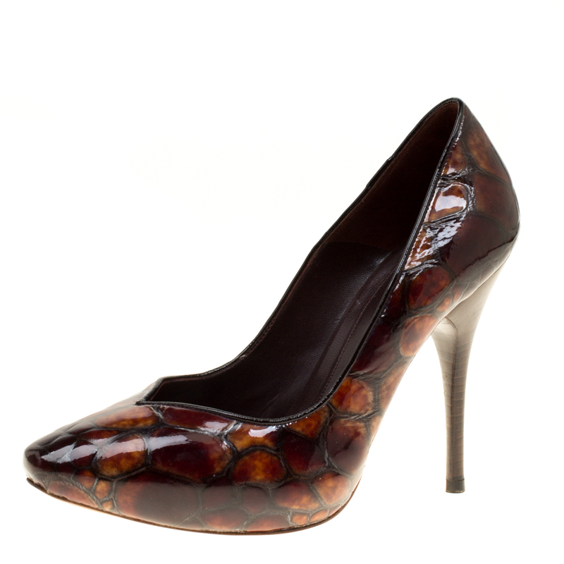 fe1d00863b98 ... Alexander McQueen Two Tone Brown Tortoise Shell Embossed Patent Leather  Pumps Size 37. nextprev. prevnext