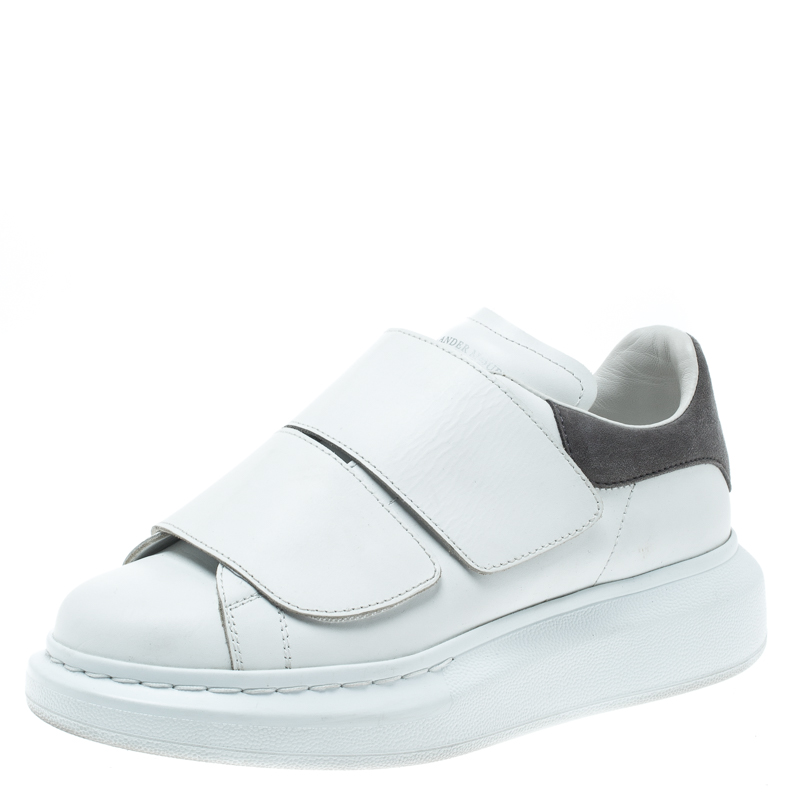 undefeated x official photos online here Alexander McQueen White Leather Oversized Velcro Strap Sneakers ...