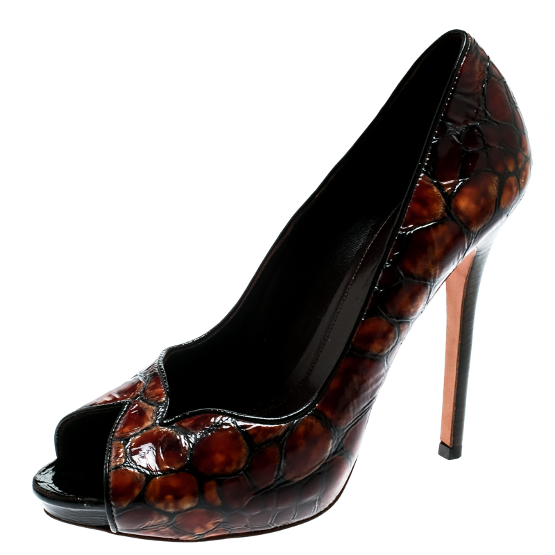 4d95acb2f448 ... Alexander McQueen Two Tone Brown Tortoise Shell Embossed Patent Leather  Pumps Size 39. nextprev. prevnext