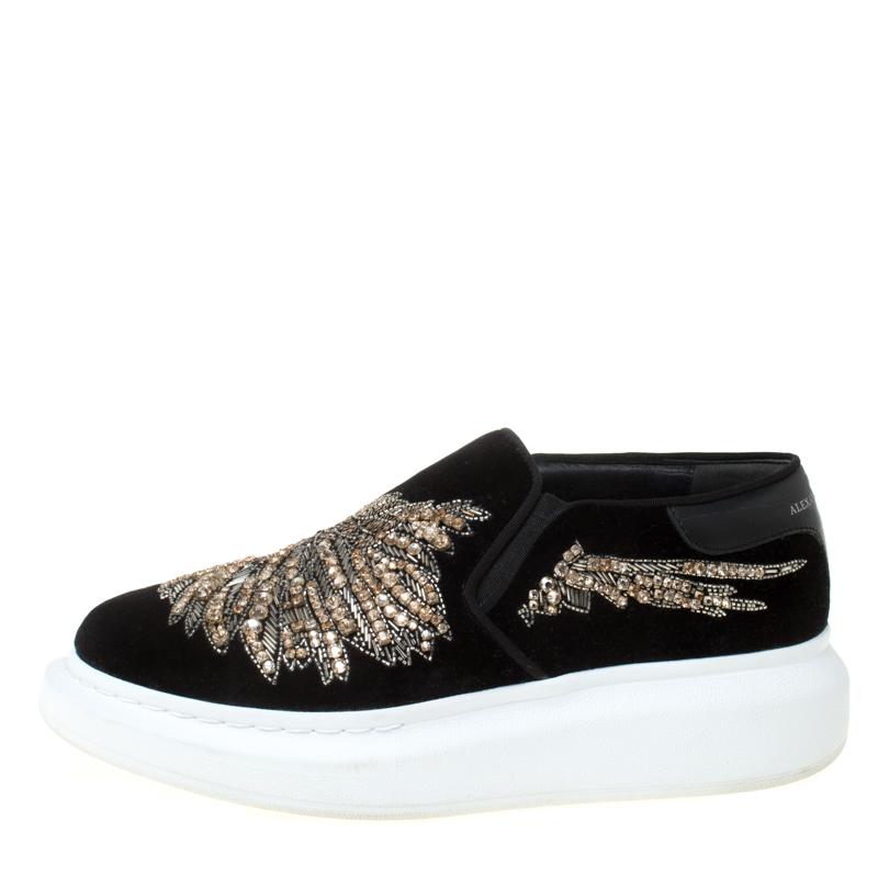 Alexander McQueen Black Crystal Embellished Velvet Slip On Platform Sneakers Size