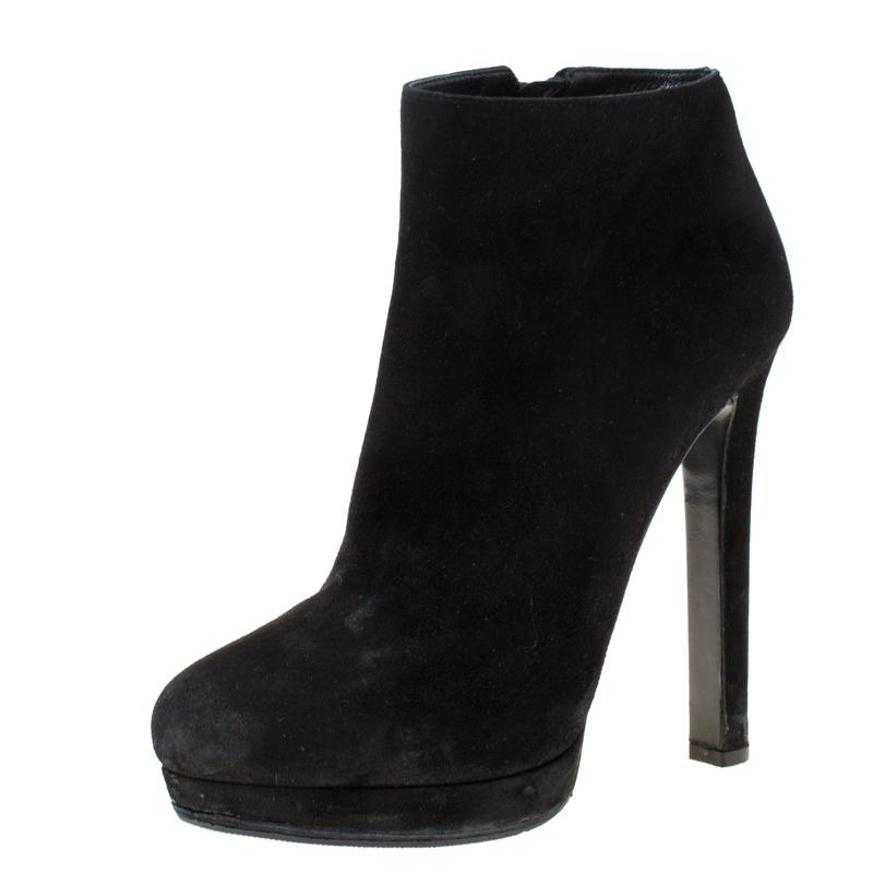 black suede platform ankle boots