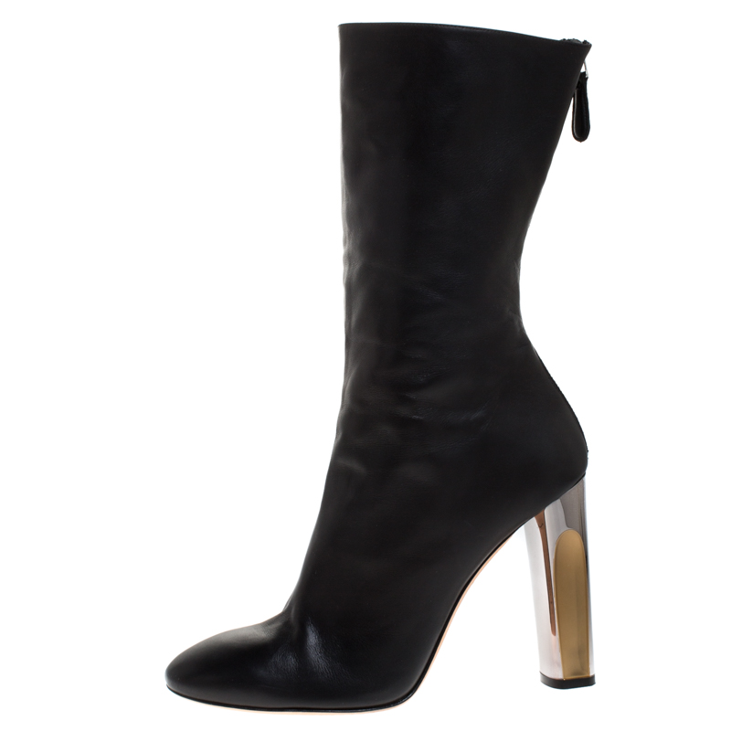 Alexander McQueen Black Leather Sculpted Heel Mid Calf Boots Size
