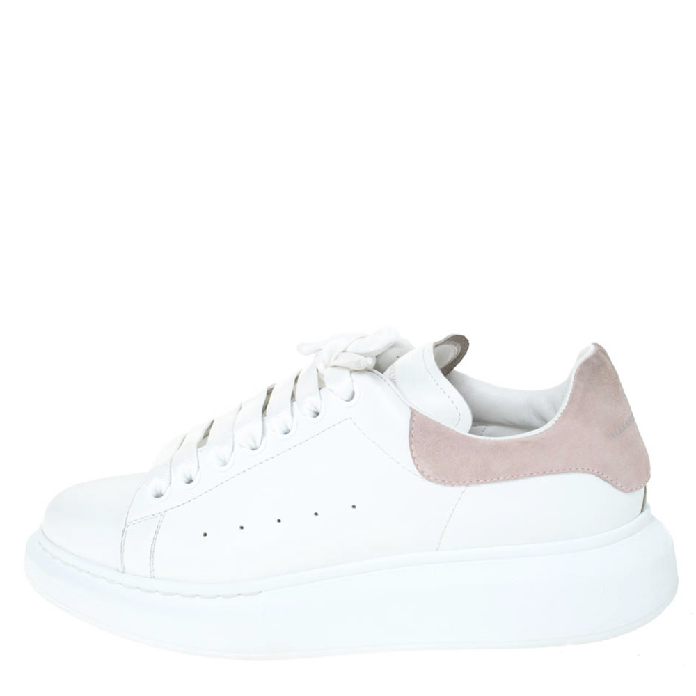 Alexander McQueen White Leather And Pink Suede Platform Sneakers Size