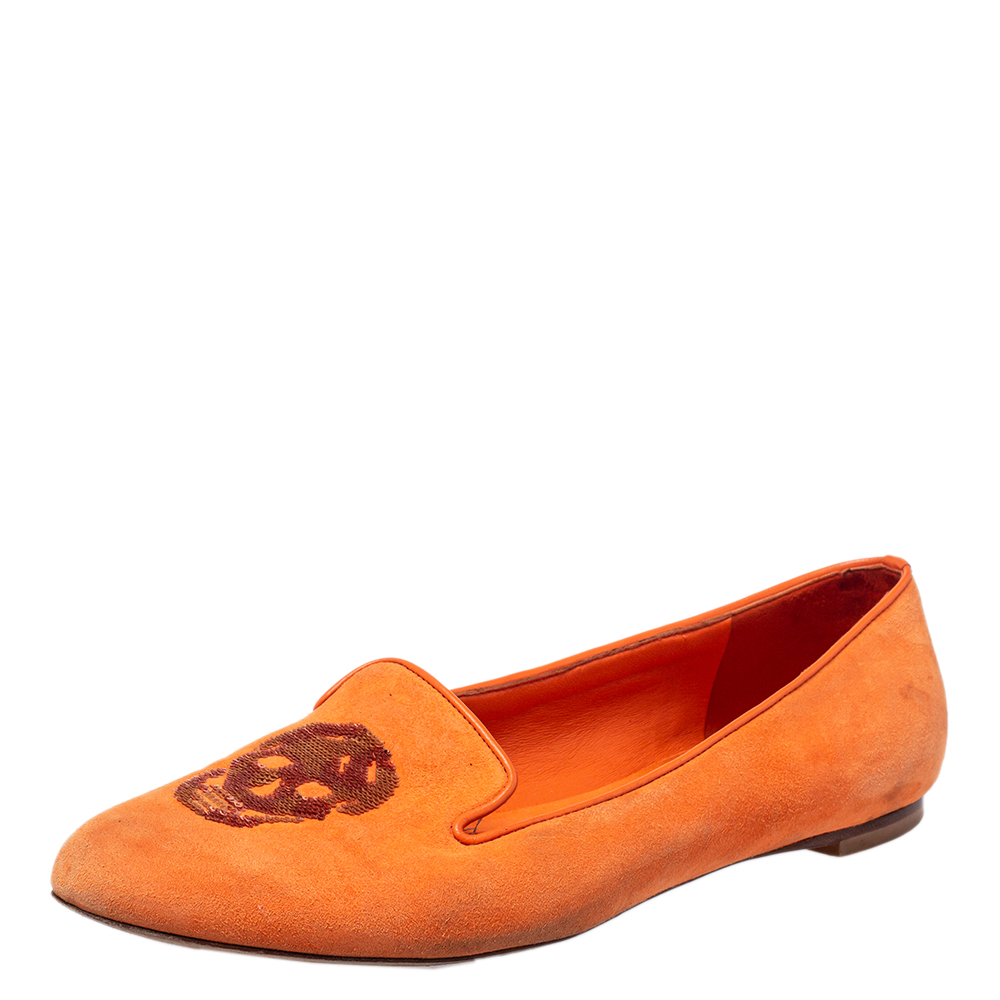 Pre-owned Alexander Mcqueen Orange Leather And Suede Slip On Loafers Size 39