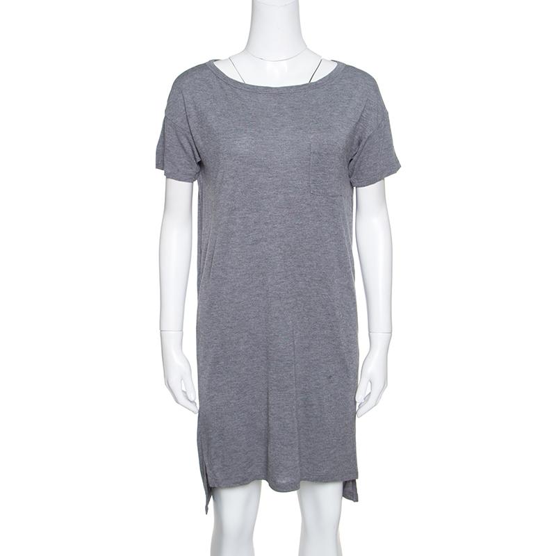 aba6cc82f T by Alexander Wang Grey Cotton Short Sleeve T-Shirt Dress S